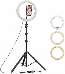 10 Inches Big Led Selfie Ring Light For Smartphone To Capture Your Photo And Video At Tiktok, Musically And Other App With Long 6.5 Feet Extendable Stand Ring Flash (black, Silver)