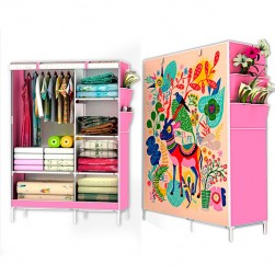 R-07 (deer) Fancy, Portable & Fordable Collapsible Wardrobe(pink)