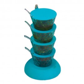 4 In 1 Multipurpose 360 Degree Rotating Pickle Rack Container For Kitchen 4 Pickle Jar Pickle Tower Pickle Jar Set Foe Dinning Table Pickle Stand Blue