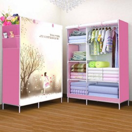 R-07 (love) Fancy, Portable & Fordable Collapsible Wardrobe(pink)