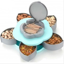 5 Compartments Flower Candy Box Serving Rotating Tray Dry Fruit, Candy, Chocolate, Snacks Storage Box (multi Color)